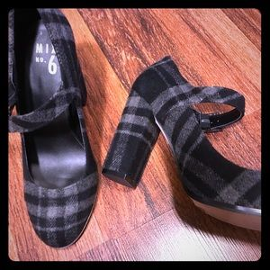 Shoes - Ankle strap block heels gray and black plaid